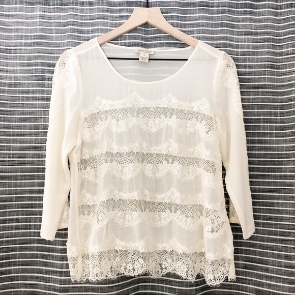 Lucky Brand Tops - Lucky Brand | Cream Layered Ruffle Lace Blouse